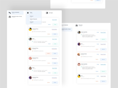 Posts and Requests panels with filter options product design moderate content filter posts by group and type task analyse ui filters ui modeling
