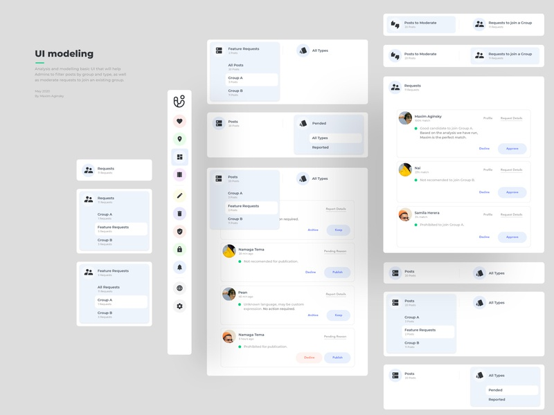UI components for Posts & Requests moderation panels