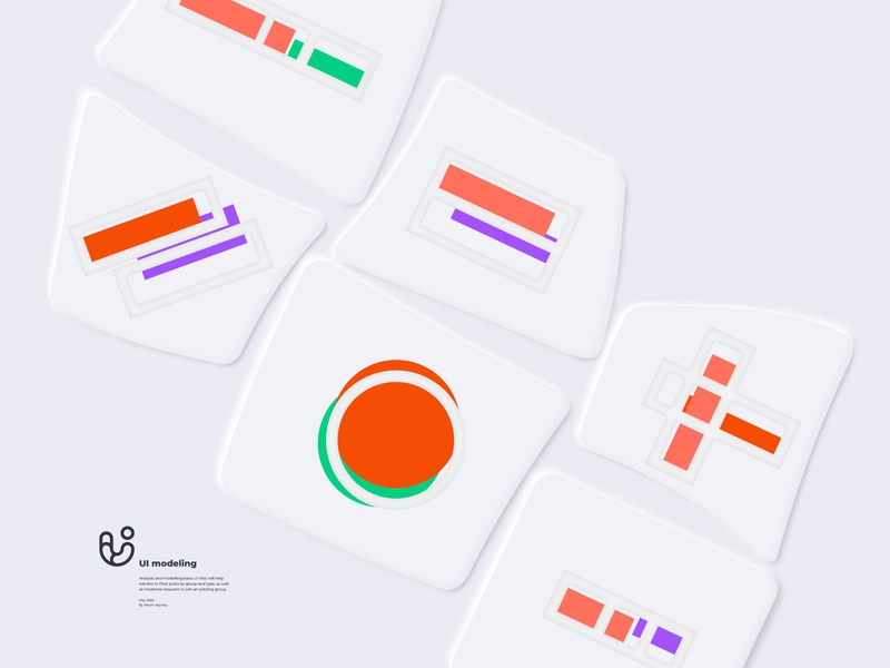 Abstract illustrations for UI modeling using Soft UI technique f symbol ui branding icons decoration pattern soft ui