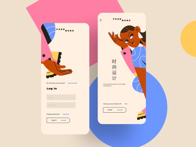 Welcome and login mobile screens. Alternative design mobile
