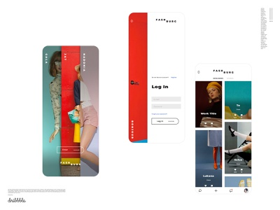 Welcome, login and gallery mobile screen set mobile