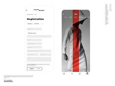 Artist portfolio welcome and new user registration screen set mobile