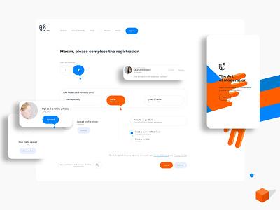 New admin registration UI. Step two. UI humanisation. Study. xd signup playoff upload profile image admin web app adobe xd adobe product web