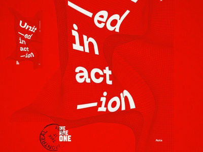 Unit—ed in act—ion poster black lives matter george floyd truth freedom net maxim aginsky united-in-action typographic poster poster-concept poster challenge illustration identity designer identity red typography same blood color violence we are one races poster