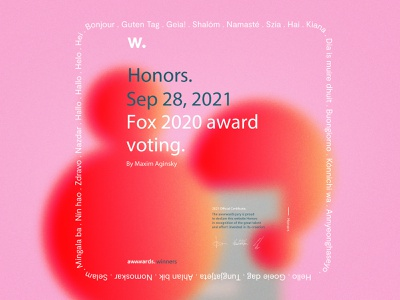 Fox 2020 Award Voting website Honorable Mention product design