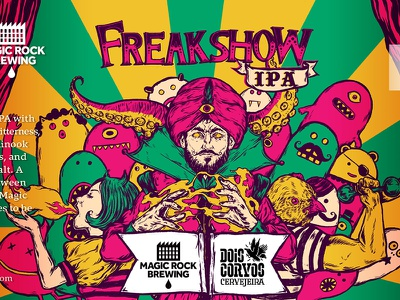 Beer Label artwork for Freakshow freakshow circus space beer design packaging illustration