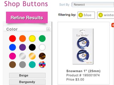 Refine Results web design ecommerce refine search filter