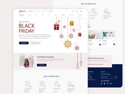 black friday: gifts.com christmas gifts black friday ui logo landing page landing illustration ux design branding