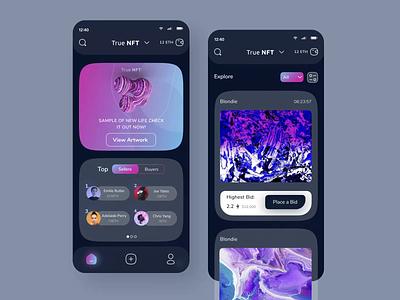 True NFT: NFT Marketplace App mobile application digital art ethereum crypto motion graphics animation vector app 2021 branding ui ux design