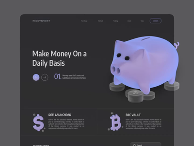 PIGGYNVEST: Decentralized Finance Landing Page trading web investment invest piggy bank coin cryptocurrency crypto vector landing page 2021 animation 3d motion graphics decentralized finance ui ux design