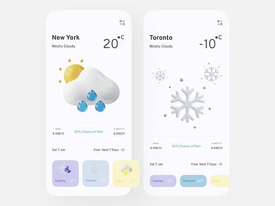 Weathery: Weather App Concept vector illustration graphic design animation weatherapp light minimal sun weather motion graphics motion 3d application app typography 2021 branding ui ux design