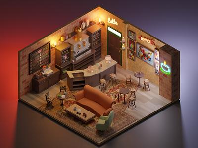 Central Perk design lowpoly fanart 3dart illustration friends 3d isometric render blender3d blender