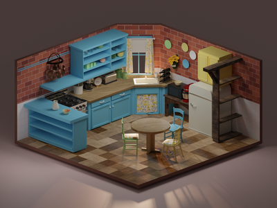 Monica's kitchen design fanart render lowpoly illustration friends blender blender3d 3dart 3d
