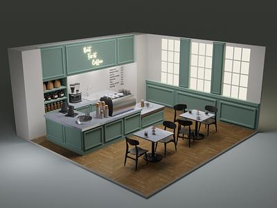 Coffee shop art coffeeshop coffee lowpoly illustration 3dart blender3d blender 3d