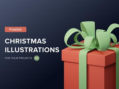FREE Christmas 3D illustrations design ui render art lowpoly illustration blender3d blender 3dart 3d