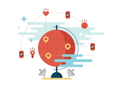Discover new followers location messaging icons globe devices flat illustration
