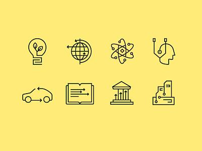 Enterprise Icons icon set city government education car globe lightbulb line monoweight icons