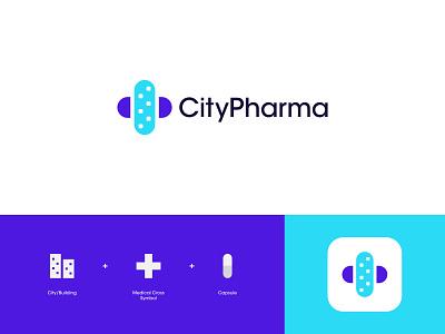 CityPharma Logo Design: City + Medical Cross Symbol + Capsule branding logo designer logo design app logo logo modern logo cross medical logo health logo doctor medicine pills clinic healthcare health pharmacy city