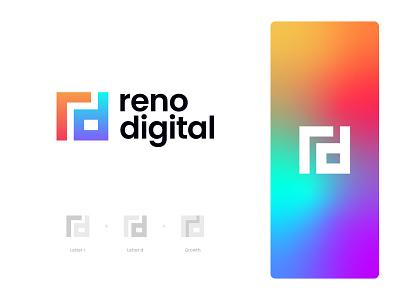 Reno Digital Logo Design: Letter R + Letter D + Growth logo designer logo design modern logo logo technology software colorful gradient modern agency marketing tech logo digital logo letter d logo letter r logo rd monogram rd logo branding