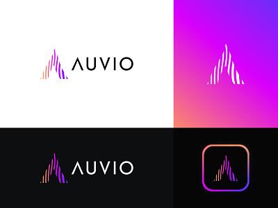 Auvio Logo Design: Letter A + Sound Wave branding logo design modern logo music app technology equalizer frequency soundbars broadcast radio gradient modern multimedia media logo waveform audio streaming music sound a letter logo