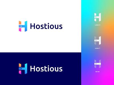 Hostious Logo Design: Letter H + Letter T + Server branding logo design modern logo cloud app technology digital gradient software tech modern storage whmcs vps web hosting domain host server cloud hosting letter h