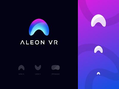 Aleon VR Logo Design: Letter A + Letter V + VR Headset branding logo design technology digital gradient software tech modern letter a futuristic 3d xr augmented reality reality virtual headset oculus ar virtual reality vr