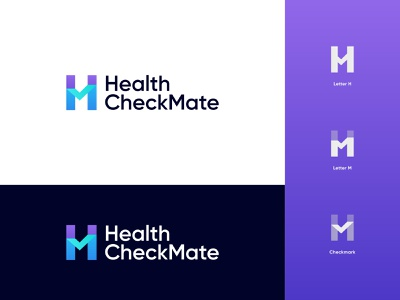 Health Checkmate Logo Design: Letter H + Letter M + Checkmark branding logo design checkmate health app done checklist tick check checkmark patient clinic hospital medicine doctor fitness medical healthcare health letter m logo letter h logo