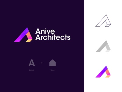 Anive Architects Logo Design: Letter A + Home branding logo modern engineering builder construction logo contractor construction company apartment interior construction exterior architecture architect property building real estate house home letter a logo
