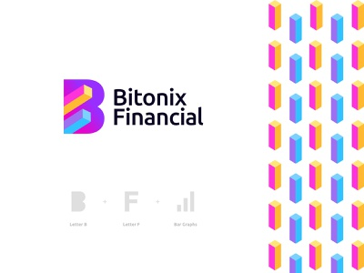 Bitonix Financial Logo Design: Letter B + Letter F + Bar Graphs branding logo gradient shares stock market bitcoin cryptocurrency exchange forex stocks trading investment business corporate money fintech finance chart bar graph letter b logo