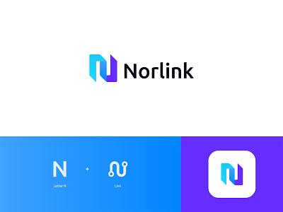 Norlink Logo Design: Letter N + Link branding logo design modern software digital startup technology project management task management communication office corporate work team collaboration connect network connection link letter n