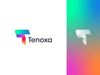 Tenoxa: Letter T Modern Logo Design app icon branding logo design letter monogram symbol mark shape colorful gradient minimal modern business saas futuristic software startup tech technology letter t
