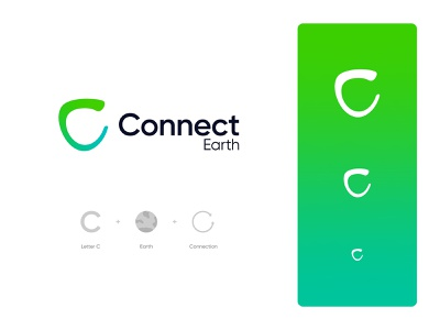 Connect Earth Logo Design: Letter C + Earth + Connection branding logo design startup tech global warming environment science energy climate change co2 footprint carbon sphere world globe planet connect connection earth letter c