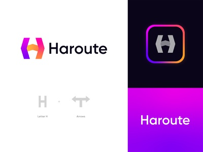 Haroute Logo Design: Letter H + Arrows navigator app icon branding logo design technology symbol mark location transport map gps route destination direction movement right left arrow logo arrow letter h