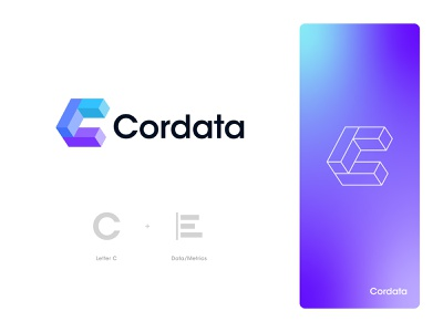 Cordata Logo Design: Letter C + Data/Metrics branding logo design isometric sales b2b technology saas software finance dashboard statistics dataviz visualization chart bar graph analytics metrics data c letter