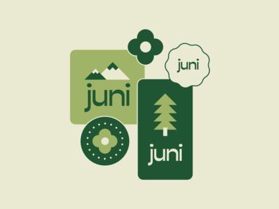 Juni Brand Concept mountain logo park vintage retro 70s 60s treehouse digital marketing digital illustration digital tree logo mountain tree agency branding vector design branding illustration