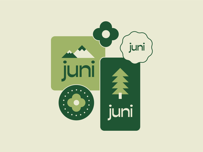 Juni Brand Concept mountain logo park vintage retro 70s 60s treehouse digital marketing digital illustration digital tree logo mountain tree agency branding vector design branding illustration