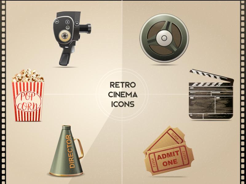 Retro Cinema Icons objects web elements icons