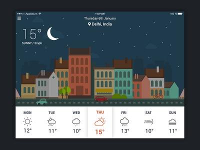 Weather App UI for iPad creativeboxx graphics illustration flat night day app weather ipad design ux ui
