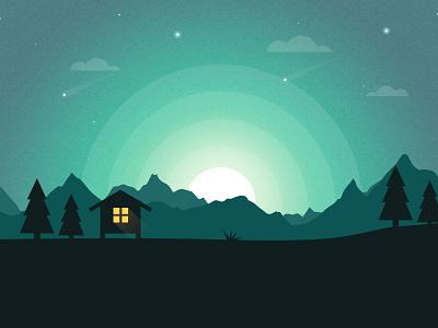 Landscape in Night Illustration flat creativeboxx design landscape illustration night