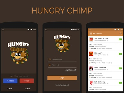 Hungry Chimp creative pixel restaurant food design android ux ui app