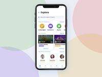 Explore Screen UI for Kids App parents. stories shadow student kids minimal pixel iphonex ios menu design ux ui