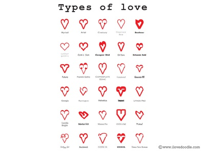 Types Of Love poster print art design typo heart love fun typography