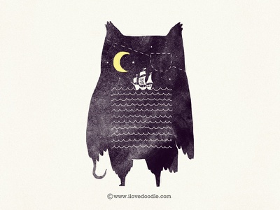Pirate Owl illustration owl pirate ship night moon sea wall art t-shirt