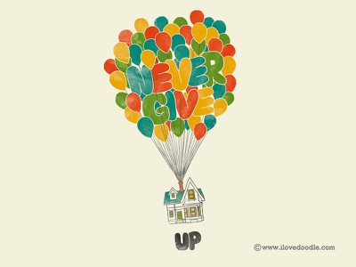 Never Give UP up poster pixar never give up balloons animation art print wall art