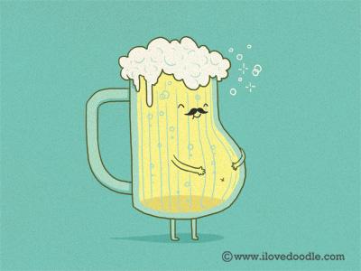 Beer Belly belly beer cute lol fun illustration humor mustache mug glass