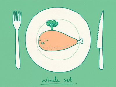 Whale Set food lunch dinner whale broccoli cute lol fun
