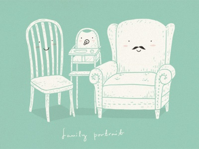 Family Portrait illustration simple cute doodle humor