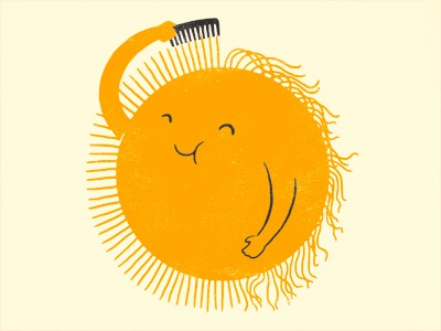 Bad Hair Day illustration ilovedoodle lim heng swee print poster art humor lol sun hair comb funny