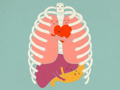 Hugs Keep Us Alive illustration ilovedoodle lim heng swee print poster art humor fun smile hugs hug rib organs heart lungs liver t-shirt design lovely cute