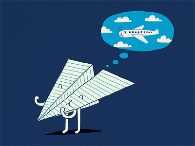When I Grow Up illustration ilovedoodle lim heng swee print poster art humor fun smile grow up aeroplane paper plane ambition fly someday cute
